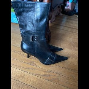 Back mid calf boots with buckle design